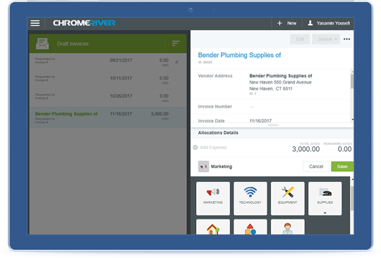 Chrome River INVOICE delivers visibility to all invoices