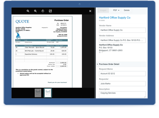 Chrome River PURCHASE ORDER screenshot